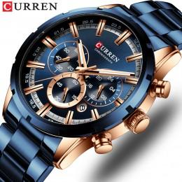 CURREN nowe mody męskie zegarki ze stali nierdzewnej Top marka luksusowe sportowe zegarek chronograf kwarcowy mężczyźni Relogio