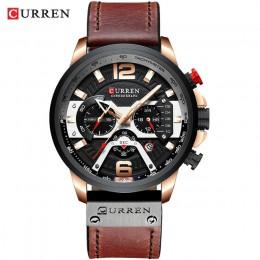CURREN Casual zegarki sportowe dla mężczyzn niebieski Top marka luksusowy skórzany wojskowy zegarek na rękę człowiek zegar moda