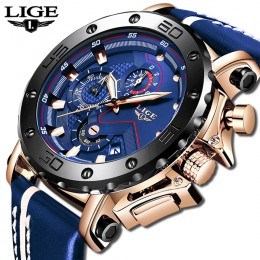 2020 LIGE męskie zegarki Top marka luksusowa moda wojskowy zegarek kwarcowy mężczyźni skóra wodoodporny Sport Chronograph Relogi