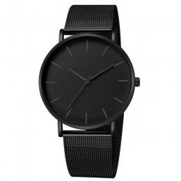 Luksusowy zegarek mężczyźni Mesh ultra-cienki zegarek kwarcowy ze stali nierdzewnej mężczyzna zegar reloj hombre relogio masculi
