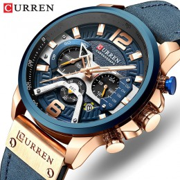 Luksusowa marka CURREN mężczyźni analogowy zegarek z paskiem ze skóry zegarki sportowe męska armia zegarek wojskowy mężczyzna da