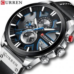 Zegarek CURREN Chronograph Sport męskie zegarki kwarcowe zegarek skórzany męski zegarek Relogio Masculino moda prezent dla mężcz