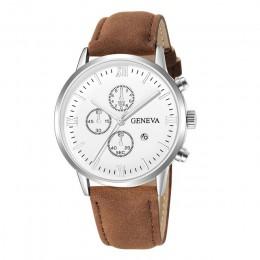 Moda genewa mężczyźni data koperta ze stopu syntetyczna skóra analogowy zegarek kwarcowy Sport mężczyzna zegar Top marka luksuso