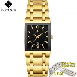 Mężczyźni zegarki Top marka luksusowe WWOOR złoty czarny kwadratowy zegarek kwarcowy mężczyźni 2020 wodoodporny złoty męski zega