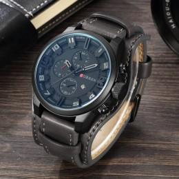 CURREN Top marka luksusowe męskie zegarki męskie zegary data Sport wojskowy skórzany pasek do zegarka kwarcowy biznesowy zegarek