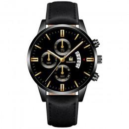 Relogio Masculino zegarki moda męska Sport box skórzany zegarek z branzoletką ze stali nierdzewnej zegarek biznesowy kwarcowy Re