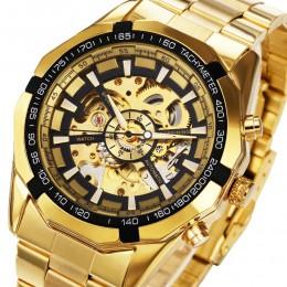 Zwycięzca zegarek mężczyźni szkielet automatyczny zegarek mechaniczny złoty szkieletowy Vintage Man zegarek męski zegarek typu F