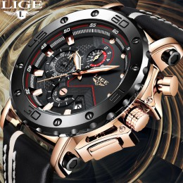 Relogio Masculino 2020 nowy LIGE LIGE Sport męskie zegarki z chronografem Top marka dorywczo skóry wodoodporny zegarek Quartz z