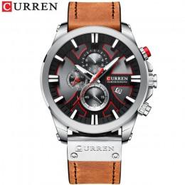 Luksusowe męskie zegarki moda chronograf sportowy zegarek na rękę kwarcowy CURREN skórzany pasek zegarek z datownikiem Reloj Hom