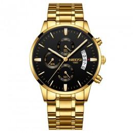 NIBOSI męskie zegarki chronograf sportowe męskie zegarki Top marka luksusowe wodoodporne pełne stalowe kwarcowy złoty zegar mężc