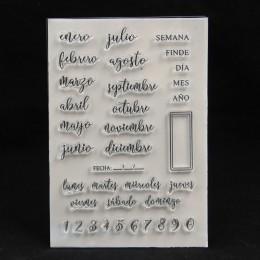 ZFPARTY hiszpański Monthes przezroczysty pieczęć silikonowa dla majsterkowiczów scrapbooking/ozdobny album na zdjęcia tworzenie