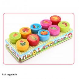 10 sztuk/pudło dzieci zabawki gumowe znaczki kreskówka zwierzęta owoce warzywa dzieci pieczęć notatnik diy zdjęcie ozdoba do alb