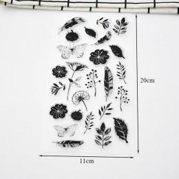 25 sztuk/arkusz kwiat motyl liście silikonowa przezroczysta znaczki rzemiosło gumowe wyczyść znaczki na papier do scrapbookingu