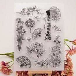 Japoński wiśniowy Kimono przezroczysty arkusz pieczątek przylgnięcie Scrapbooking Album fotograficzny PaperCard DIY Craft