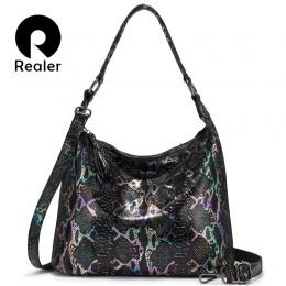 REALER torby na ramię dla kobiet 2020 prawdziwej skóry luksusowa torebka projektant duża torba typu hobo z pomponem zwierząt dru
