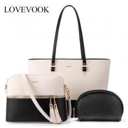 LOVEVOOK damskie torebki na ramię crossbody torby damskie duże torby na ramię zestaw 3 szt. Sprzęgło i torebka luksusowa torebka