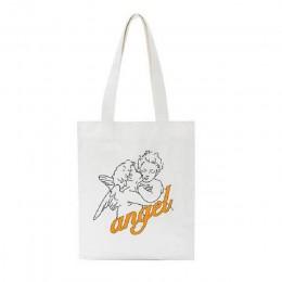 Anioł nowa kobieta college płócienna torba na ramię moda na co dzień list nadruk kreskówkowy o dużej pojemności białe torby z na