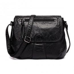 DAUNAVIA czarne małe kobiety torba miękka myte PU skóra Crossbody torba torebka damska torebki Bolsa Feminina Bolsos Muje