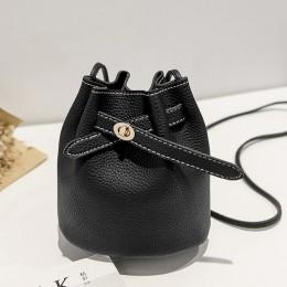 Nowa prosta kubełkowa torebka damska 2019 luksusowe torebki damskie PU Lychee mała na ramię torba Crossboby moda solidna bolsa f