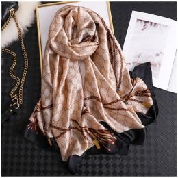 2020 klasyczne kobiety jedwabny szal damskie chusty damskie szlafrok na plażę szyfonowa chusta łańcuch drukowane krem do opalani