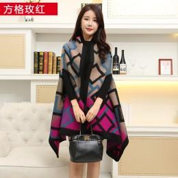 Nowy 2020 luksusowa marka kobiety zima szalik cieplej szal panie Plaid koc Knit Wrap kaszmirowe ponczo peleryny kobiet Echarpe