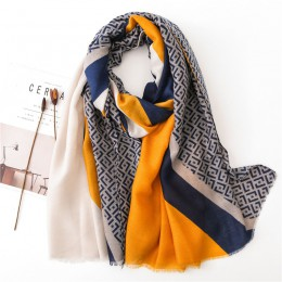 Damskie nowe mody geometryczny patchwork Fringe wiskoza szalik jesień zima tłumik pałąk Foulards Sjaal Wrap hidżab Snood
