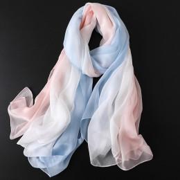 2019 nowa wiosna jednolity jedwab szalik dla kobiet/panie gradientu długa miękka chustka okłady i szale w dużych rozmiarach plaż
