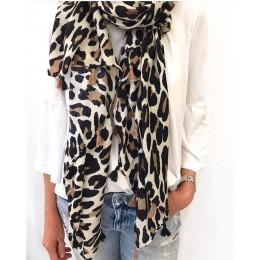 2020 kobiety moda marka plamki w stylu lamparta Tassel wiskoza szalik panie druku miękkie ciepłe Wrap Pashminas Sjaal muzułmańsk