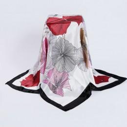 Nowy projekt kobieta elegancki jedwabny szalik 90*90cm kwadratowe satynowe szaliki dla damska opaska na głowę do włosów jedwabna