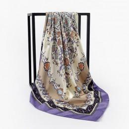 2020 letnie szale jedwabne Foulard 90cm plac hidżab szalik kobiet panie szyfonowa chusta Bandanna wrap tłumik pareo darmowa wysy