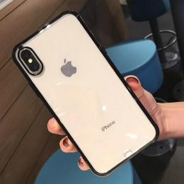 Lovebay odporny na wstrząsy zderzak przezroczysty silikonowy futerał na telefon dla iPhone 11 Pro X XR XS Max 8 7 6 6S Plus jasn