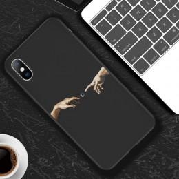 Lovebay dla iPhone 11 Pro Max 6 6s 7 8 Plus X XR XS Max 5 5s SE przypadku telefonu Cartoon statua abstrakcyjne sztuki malowane m