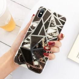 Lovebay geometryczne marmurowe tekstury etui na telefony dla iPhone SE 2020 X XR XS Max 11 Pro Max miękkie IMD pokrywa dla iPhon