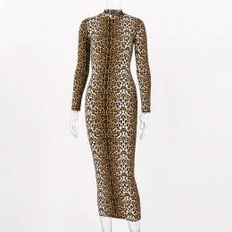 Hugcitar wzór w cętki z długim rękawem wąska obcisła seksowna sukienka 2019 jesienno-zimowa damska streetwear party festival suk
