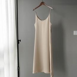 2020 wiosna lato kobiety satynowa sukienka party Luxury Shiny Sundress sztuczny jedwab sukienka