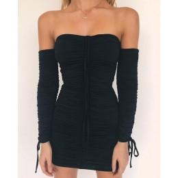 Articat kobiety jesień zima bandaż sukienka kobiety 2020 Sexy Off ramię z długim rękawem Slim elastyczny dopasowany do ciała suk