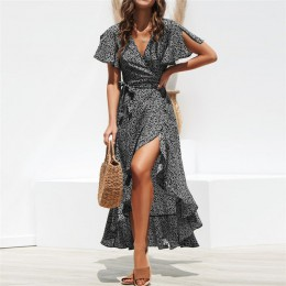Letnia plaża Maxi sukienka kobiety kwiatowy Print Boho długa szyfonowa sukienka Ruffles Wrap Casual dekolt w serek Split Sexy Pa