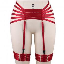 Czerwony pas do pończoch szelki BDSM Bondage pończochy szelki pas elastyczna regulacja pasek bielizna Goth fetysz ubrania tanecz