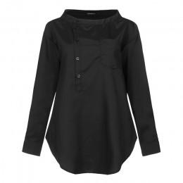 5XL modna koszula 2020 jesień z długim rękawem przyciski codzienne bluzki Celmia damskie tunikowe bluzki Casual Loose Solid Blus