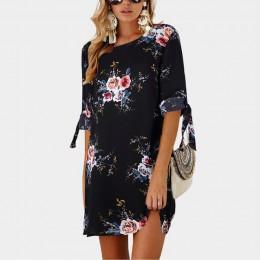 2020 kobiety letnia sukienka styl Boho kwiatowy Print szyfonowa plaża sukienka tunika Sundress luźna Mini impreza sukienka Vesti