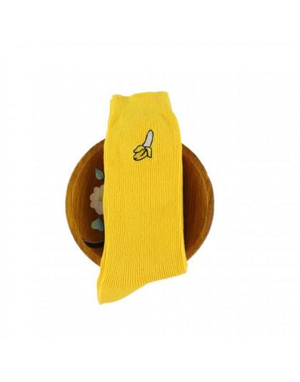 1/2 Pairs śliczne owoce w stylu kreskówki druku awokado Banana Cherry Peach dziewczyny Kawaii skarpetki koreański haft w stylu h