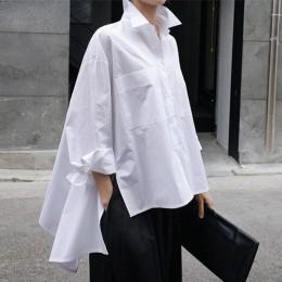 [EAM] 2020 nowa wiosna jesień Lapel długim rękawem biały tył długa luźna Big Size nieregularna koszula kobiety bluzka moda fala