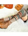 Zima nad kolanem długa dzianinowa narzutka szydełkowe getry Legging szykowny ciepły w paski Calentadores Pierna Mujer udo Stulpe