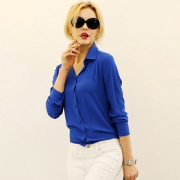 Kobiety bluzki sprzedaż bezpośrednia przycisk solidna 2019 jesień nowa koszula z długim rękawem kobieta szyfonowa damska wąska o