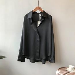 2019 wiosna kobiety moda długie rękawy satynowa bluzka w stylu Vintage Femme V Neck Street koszule elegancki sztuczny jedwab blu