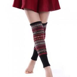 Dzianinowe ogrzewacze na nogi w kolorowe folkowe wzory ciepłe zimowe jesienne getry do kolan modne