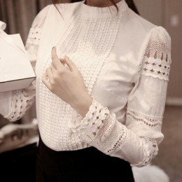 Moda elegancka damska koszula szydełkowa topy Slim jednolity haft z długim rękawem formalna biała bluzka