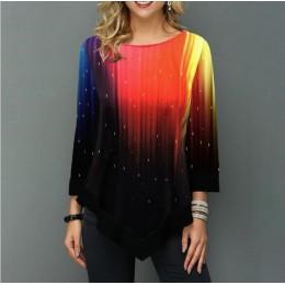 Koszula damska wiosna letni nadruk bluzka 3/4 rękaw Casual Hem nieregularność kobieca modna koszula topy Plus rozmiar