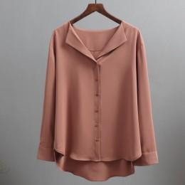 Casual jednolity, damski koszule odzież wierzchnia 2019 jesień nowa szyfonowa bluzka damska urząd Lady V-neck przycisk luźne ubr