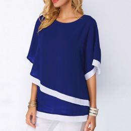 Bluzki plus size dla kobiet 4xl 5xl Patchwork podwójna warstwa bluzki na co dzień Batwing tunika 2019 jesień duży rozmiar szyfon
